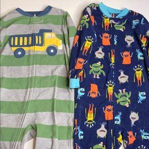 Pair of 3T Footless One-Piece Zip Fleece Pajamas